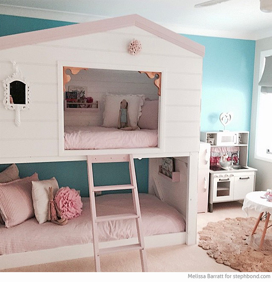 Bondville amazing loft bunk bed room for three girls for Bunk bed bedroom designs