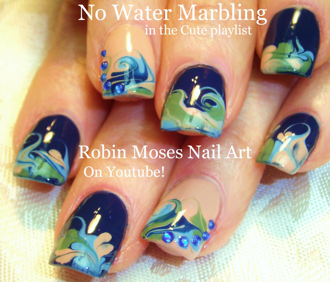 Robin Moses Nail Art Designs: Nail Art By Robin Moses: Black And White No Water Marble