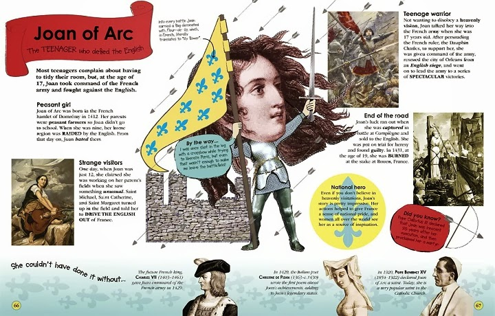 100 People Who Made History, Meet the People Who Shaped the Modern World, Ben Gilliland, Philip Parker, book, facts, random trivia, children's, non-fiction, DK Publishing, history, historical, inside pages, look, preview, Joan of Arc, saint, religion, martyr, France, rebellion, war
