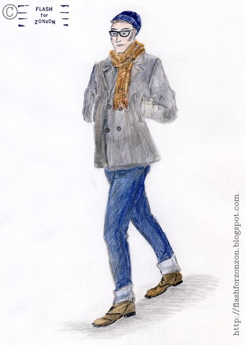 Street Style. Grey Pea Coat.