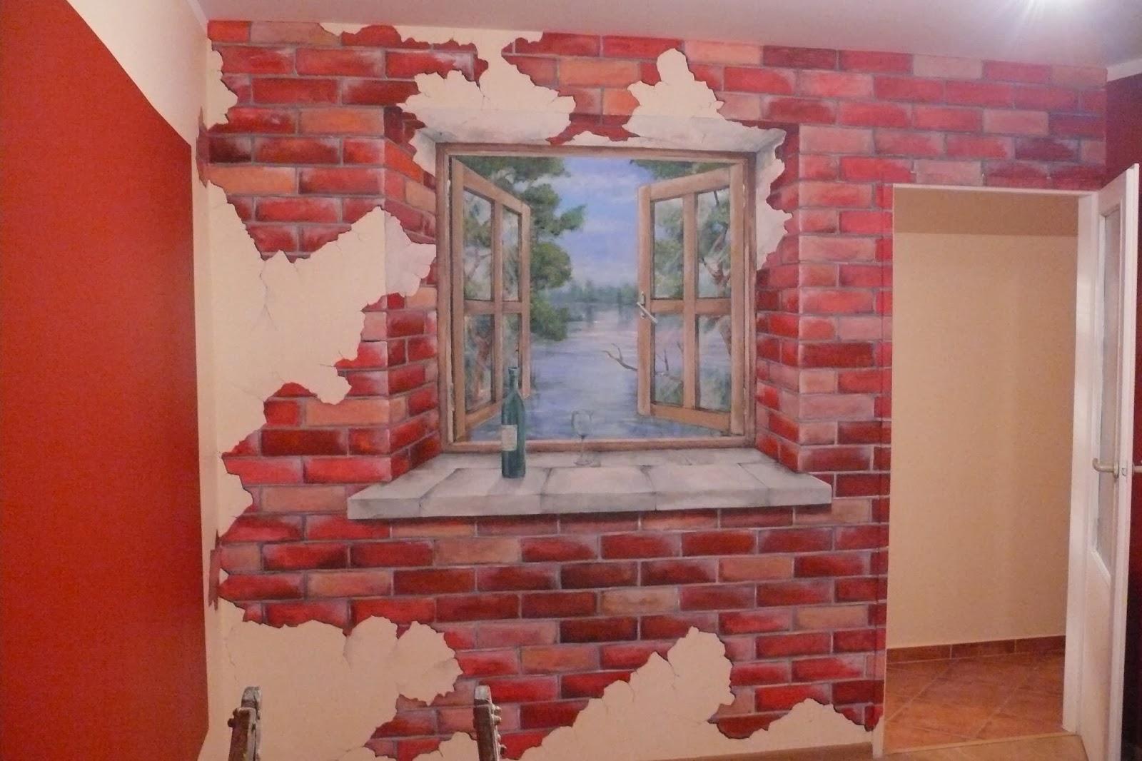 Artystyczne malowanie obrazu na ścianie przedstawiający widok z okna, Warszawa mural ścienny