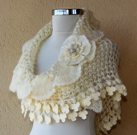 Crochet Ivory Gold Bridal Shawl Wedding