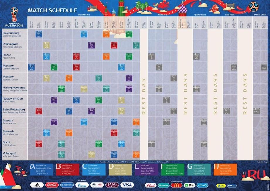 FIFA 2018 Match Schedule