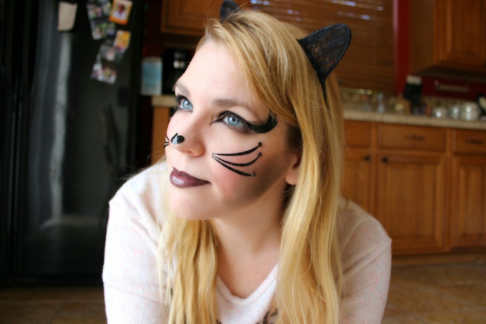 diaries of a sunflower: halloween cat makeup (pretty kitty decals)