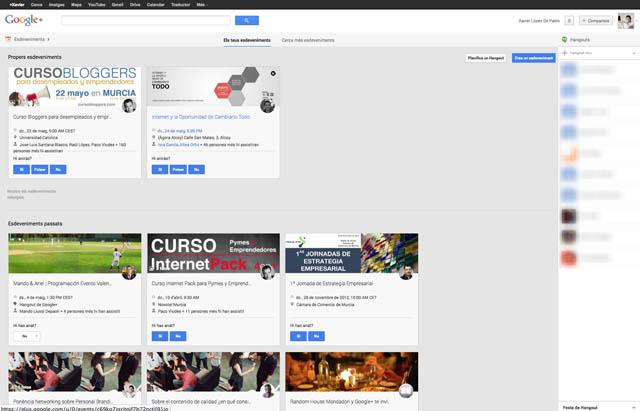 Pantalla Esdeveniments de la Xarxa Social Google Plus