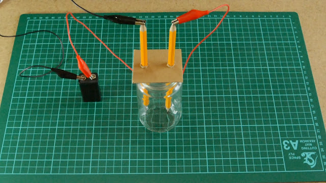 Place your cardboard with pencils onto jar and attach the battery - now your ready.