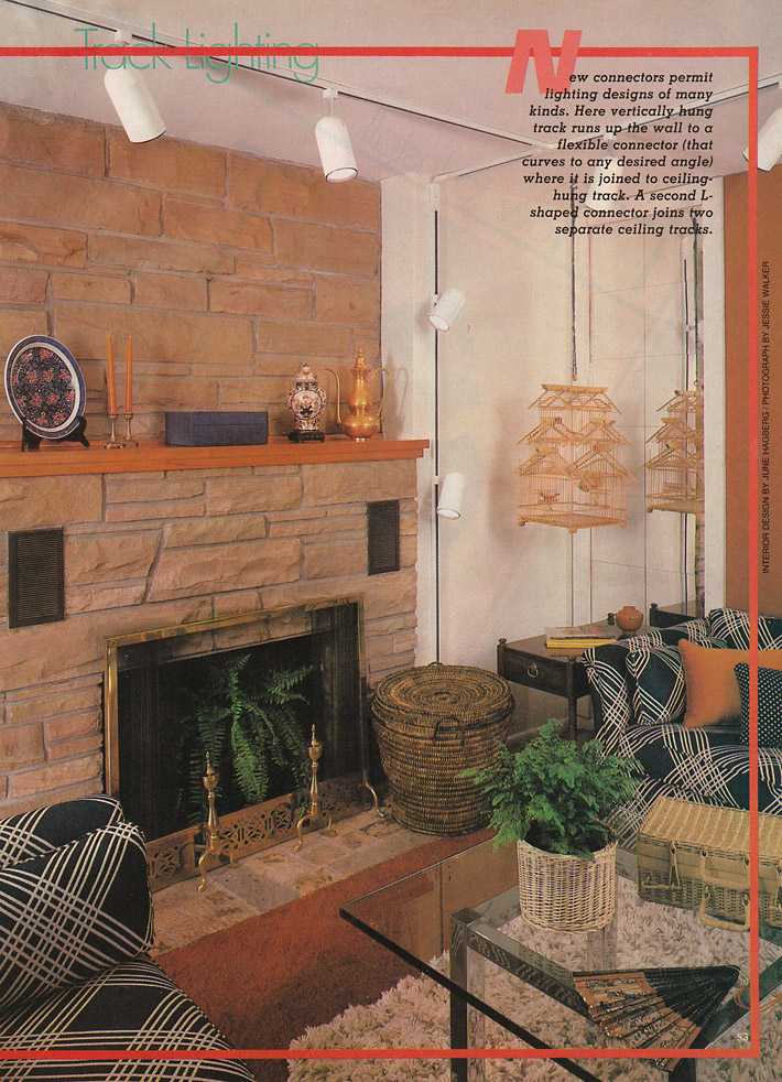 This Spread Was Devoted To Track Lighting, And This Room Has Several Other  Of The Trends In It As Well   A Mirror Wall, Baskets, The Geometric/plaid  Pattern ...