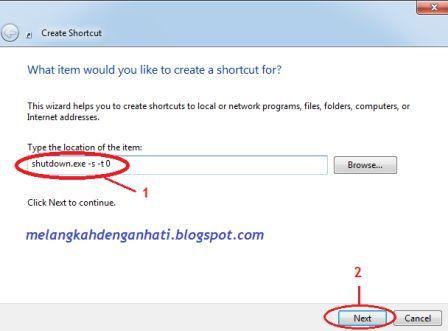 Membuat shortcut shutdown, restart dan log off di windows
