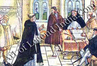 An appearance before Cajetan In 1518, Luther was invited to Augsburg to appear before the Pope's representative. But the urbane Cardinal Cajetan could not persuade him to recant his heresy.