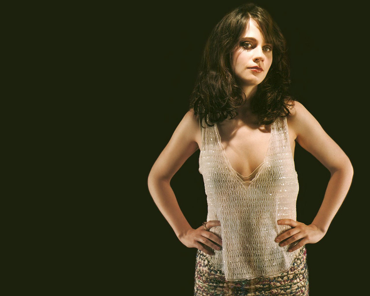 zooey deschanel see through top