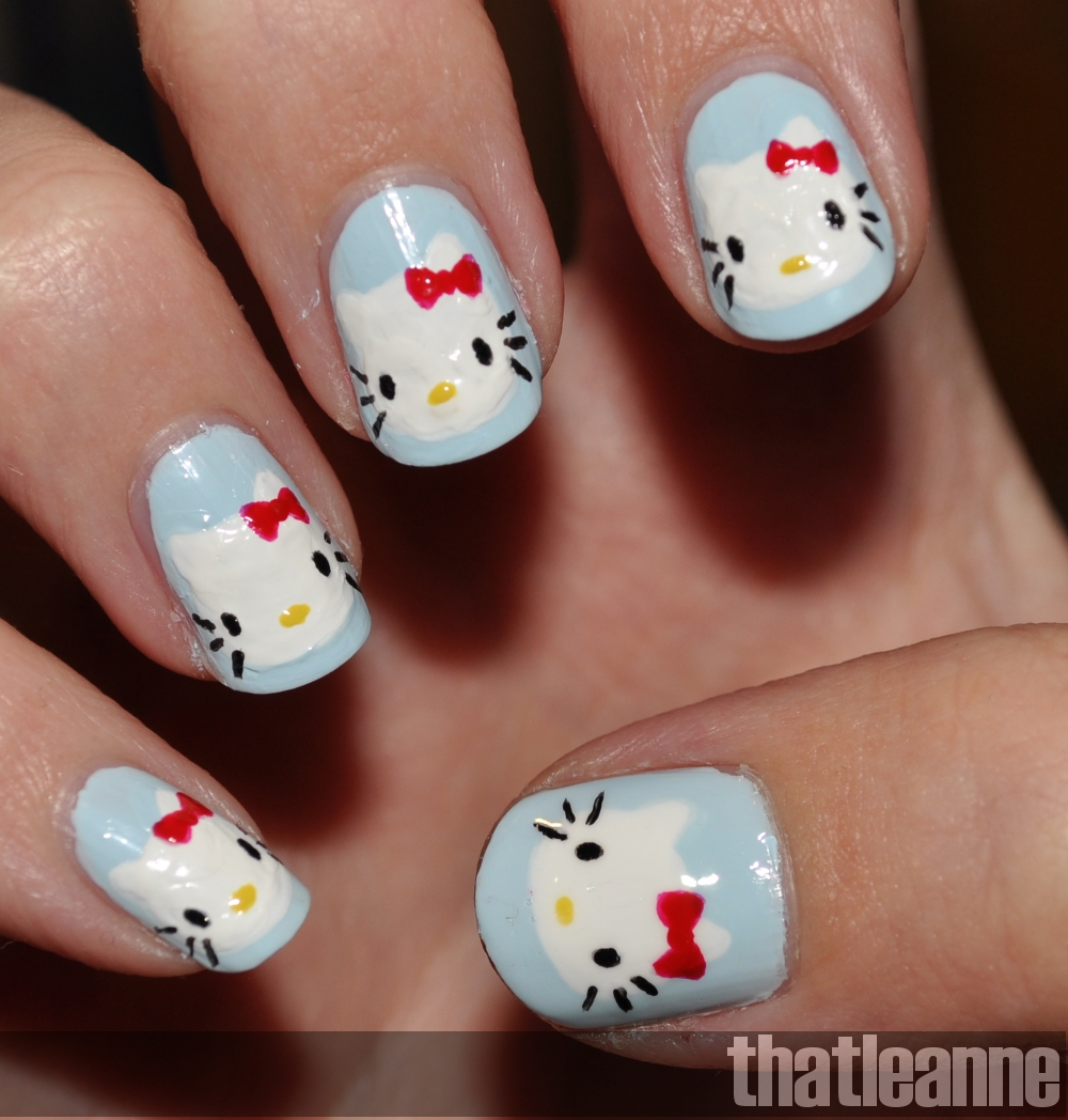 Hello Kitty Bow Nail Designs Hello kitty nail art with