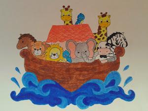 Muurschildering dierenboot