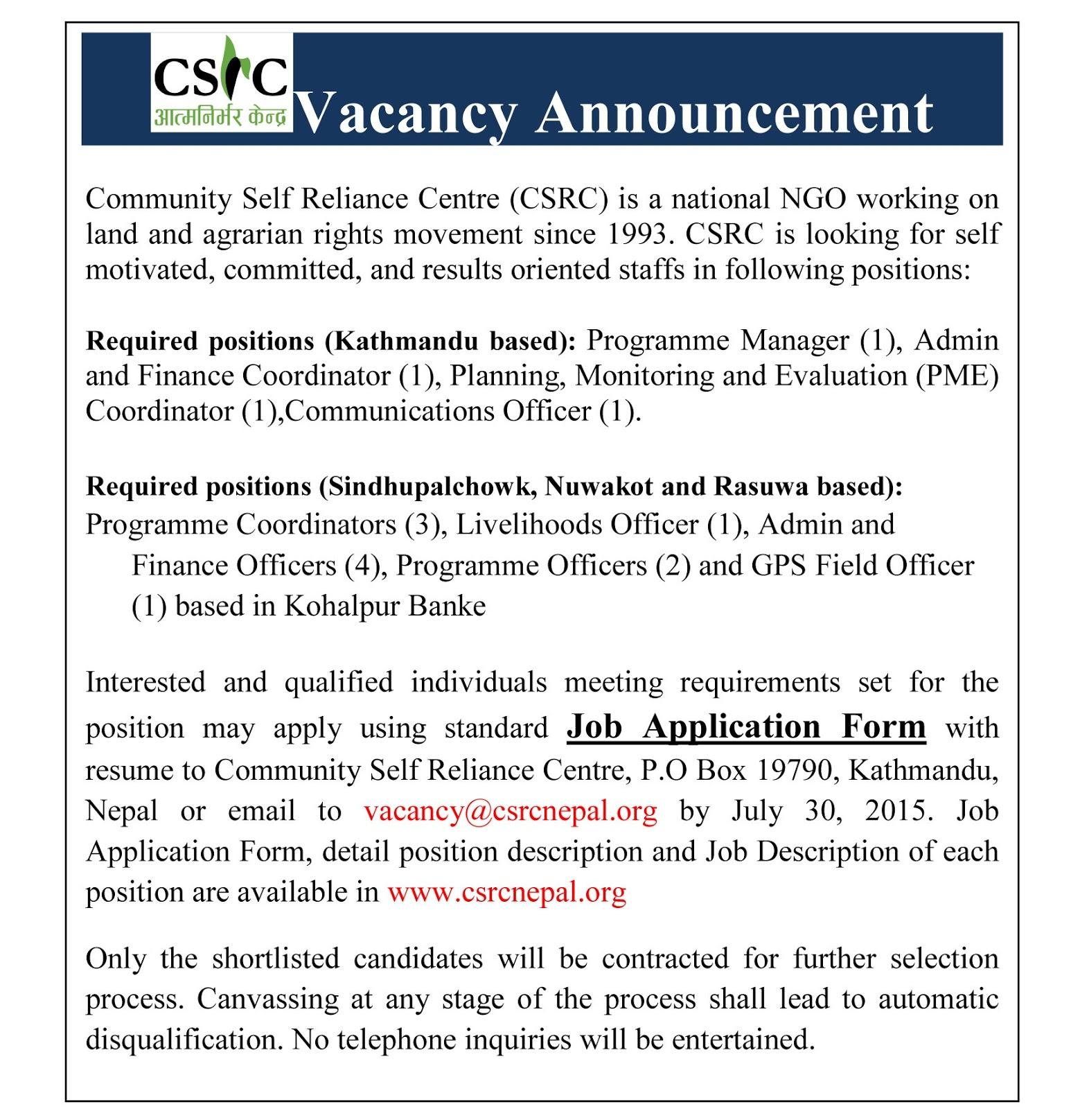 Job Vacancy Nepal, Community Self Reliance Center ~ All Jobs Nepal