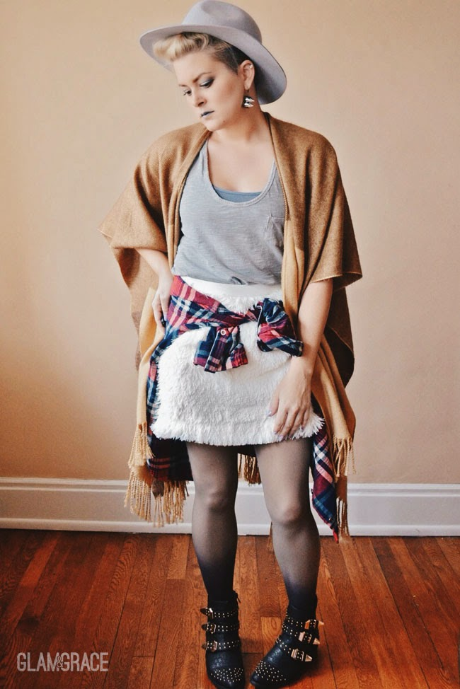 tied flannel - faux fur skirt - ombre tights