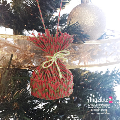 Trendy Twine: Winter Hat ornament #trendytwine #scrappyscrappy #hollyberry #limeade #christmas #twine