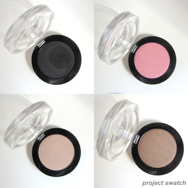 Milani Powder Eyeshadows: Pitch Black, Tickled Pink, Pearl, Caramel Brown