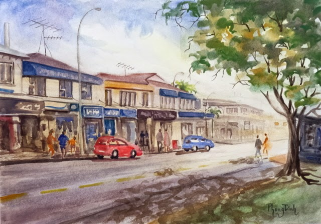 Wonderful Watercolor Outdoor Painting of  St Heliers, Auckland Historic Seaside village 29.5x42cm