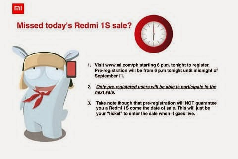 Xiaomi will open Redmi 1s pre-registration today at 6PM