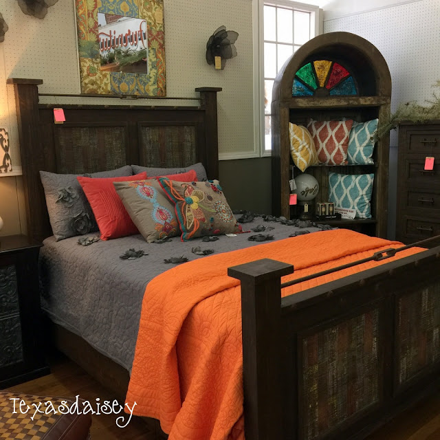Look what I found at Gordon's Furniture a rustic bed and a stained glass etegere