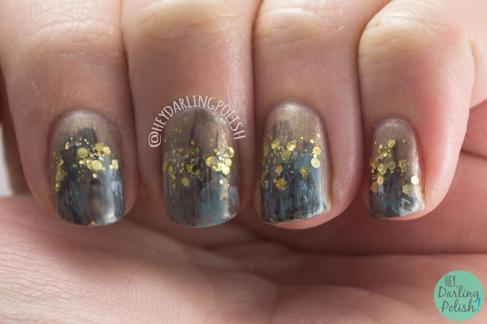 nails, nail art, nail polish, art, glitter, dry brush, hey darling polish, 2015 cnt 31 day challenge
