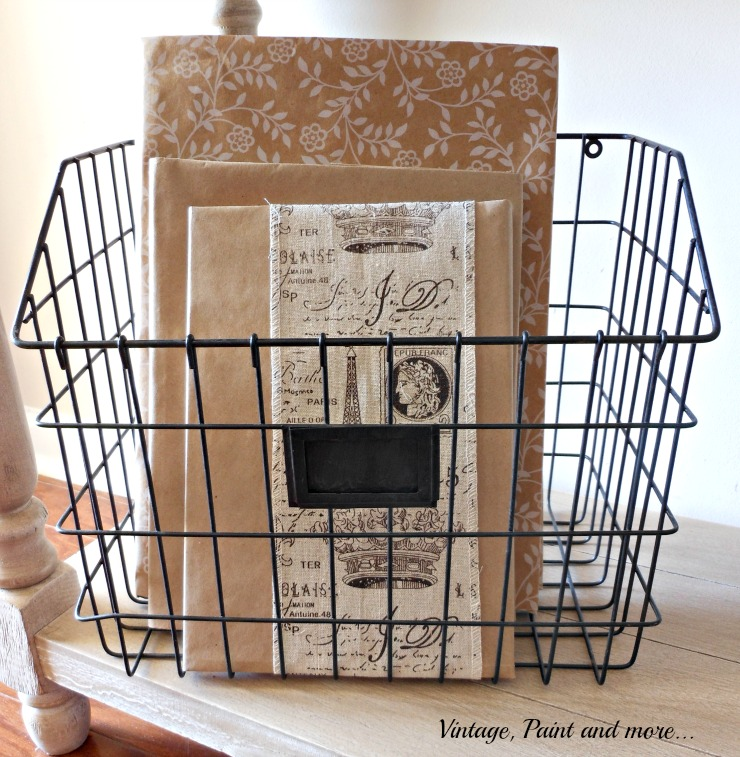 Vintage, Paint and more... wire basket with books with DIY brown paper jackets