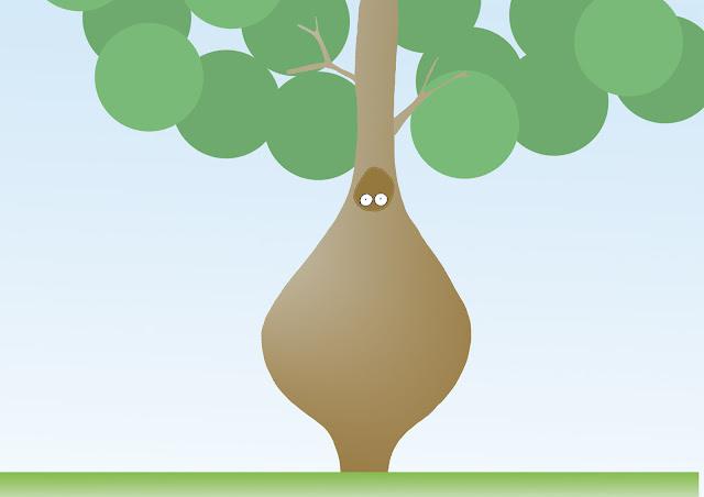 ippopotamo nell'incavo di un albero