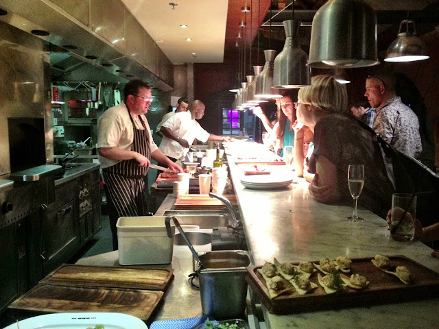 Canapés being served from the first floor kitchen