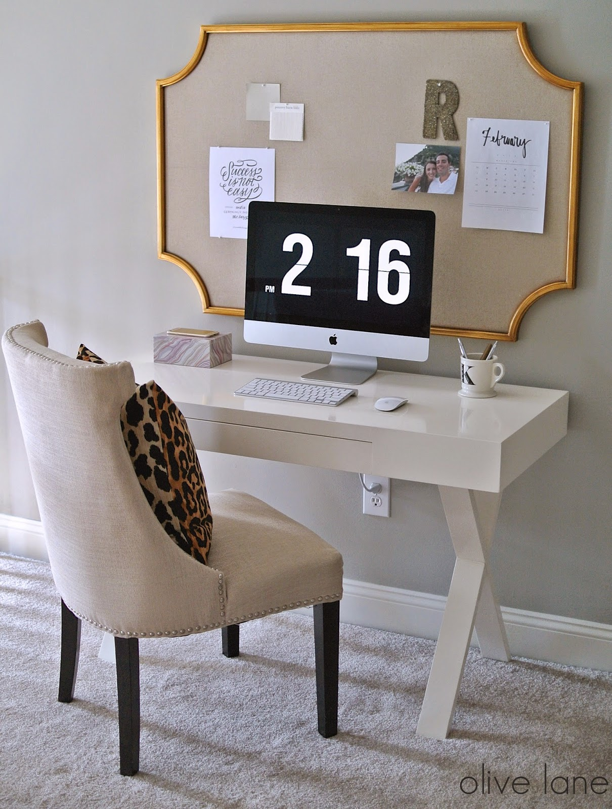 White Desk Feminine Home Office Update White and Gold Leopard www.olivelaneinteriors.com