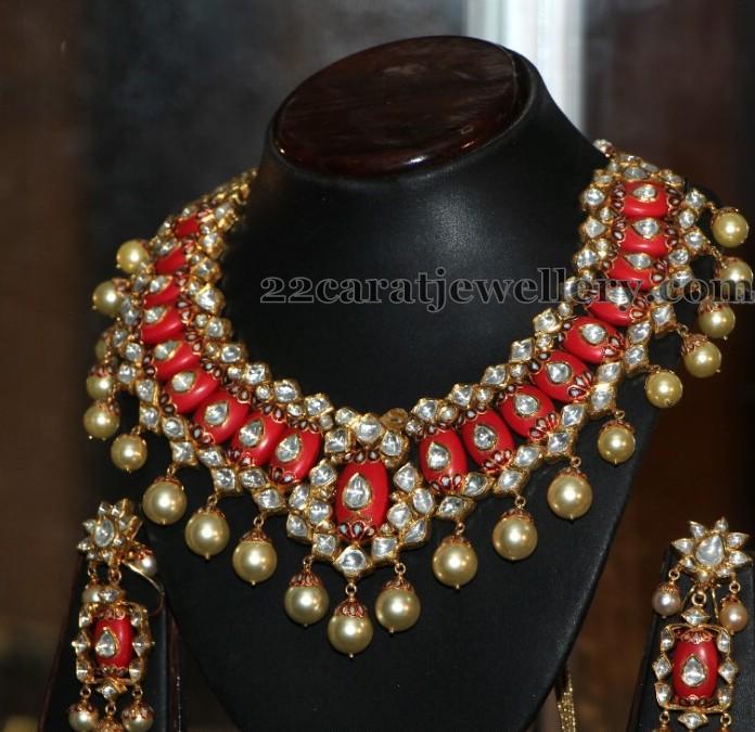 Coral Polki Choker with Earrings Jewellery Designs