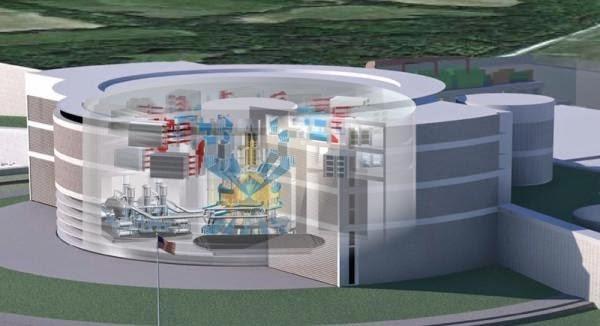 Imagem conceitual do espaço para fusão nuclear a laser.