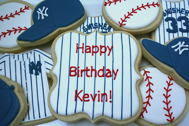 baseball themed birthday cookies