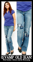 DIY Clothing : Revamp Old Jeans With Patches , Glitters And By Distressing