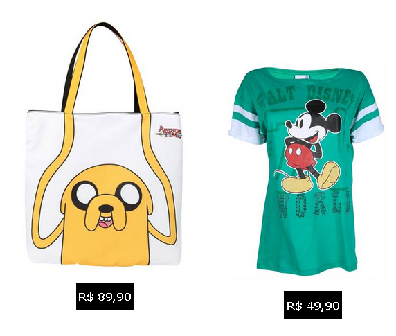 Riachuelo: Bolsa Adventure Time e Camiseta Mickey
