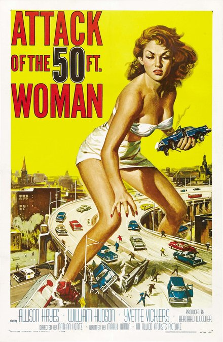 theater, movies, horror movie, vintage, vintage posters, graphic design, classic posters, retro prints, free download, Attack of the 50 ft. Woman - Vintage Horror Movie Poster