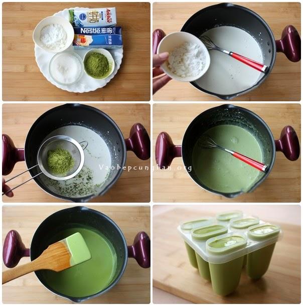 Cách làm kem trà xanh tai nhà
