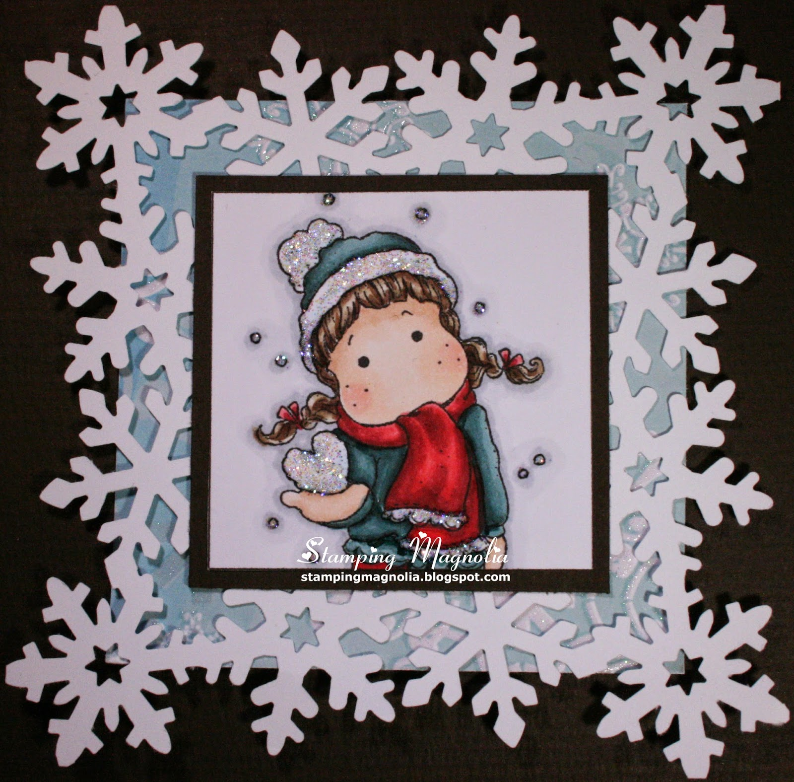 Coloring Magnolia Stamp Sweet Christmas Dreams Collection - Tilda with Snow Heart