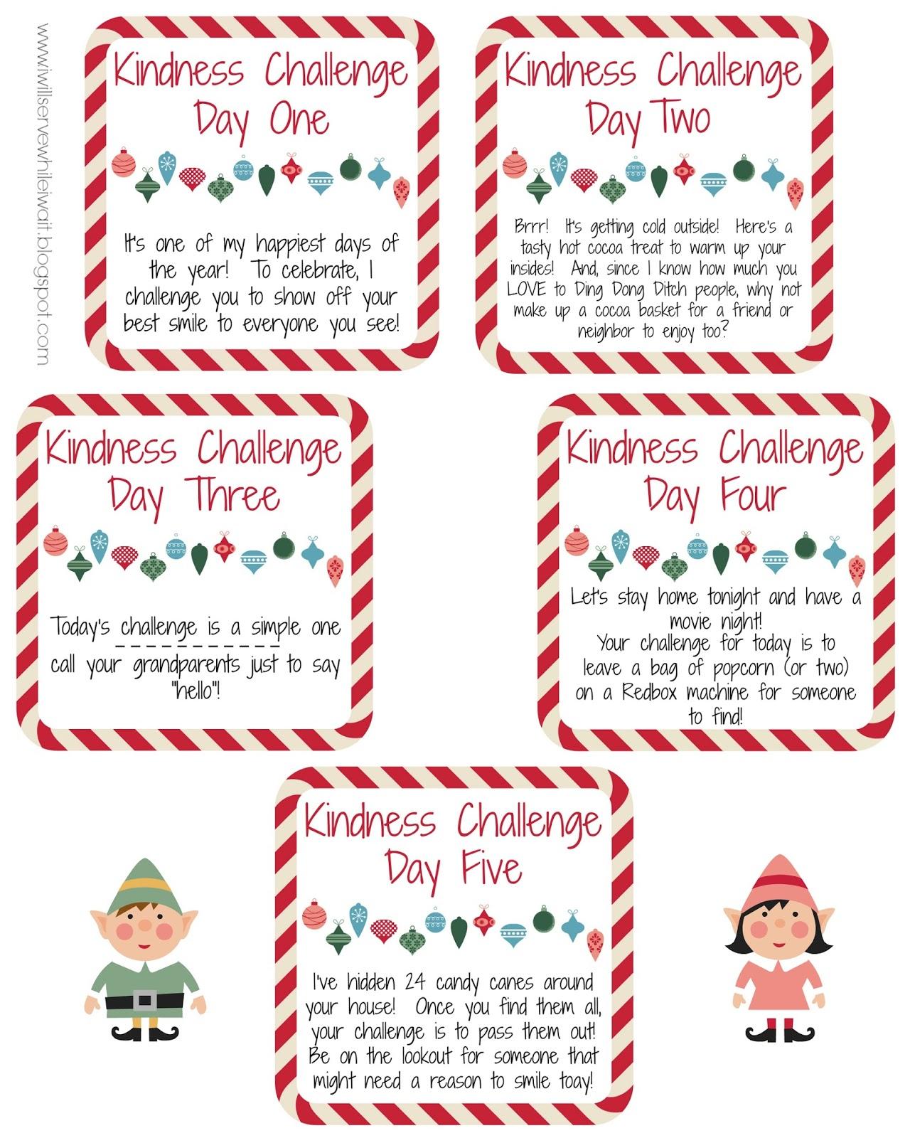 while i u0027m waiting an elf kindness challenge free printables