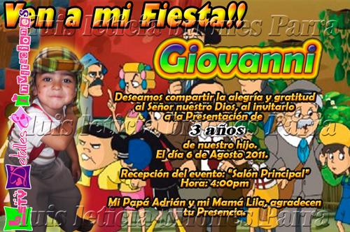 Invitaciones del Chavo del Ocho animado para imprimir - Imagui