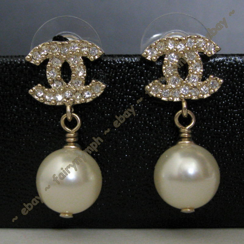 hermes chanel auth chanel cc pearl earrings