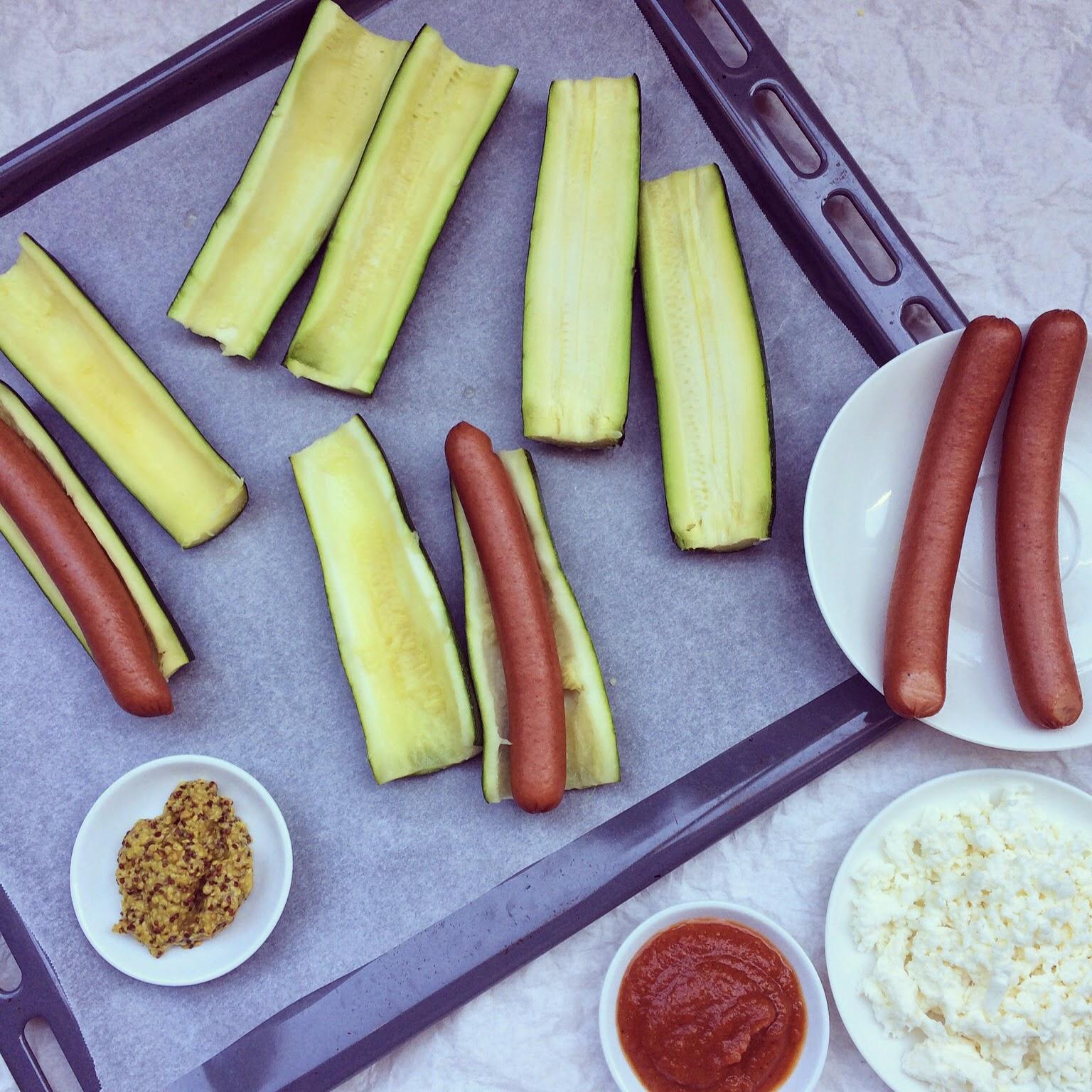 hot-dogs courgettes mozzarella