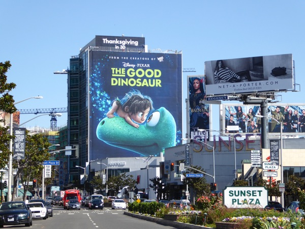 Giant Good Dinosaur movie billboard Sunset Strip