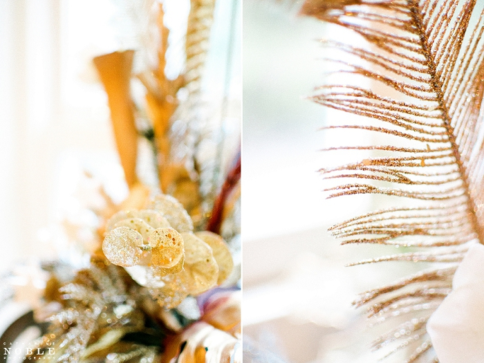gold feather christmas floral arrangements