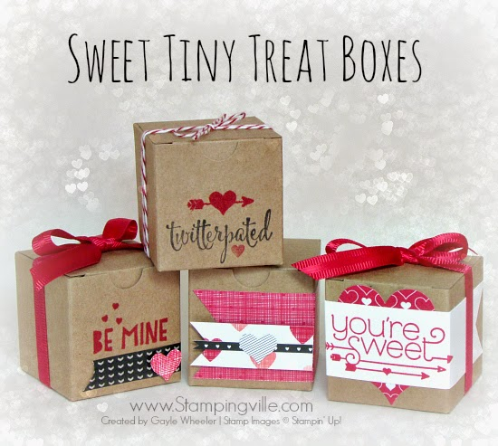Cute! Quick + easy tiny Valentine treat boxes. #valentines #papercrafts #stampinup