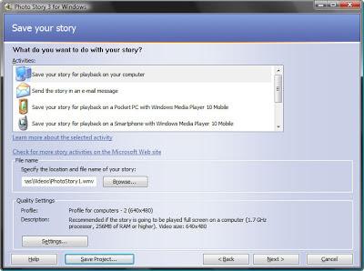 сохранение видео презентации созданной из фотографий в бесплатной программе Photo Story 3