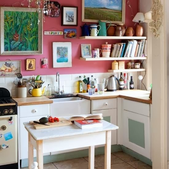 Small Pink Kitchen Love that painting!!