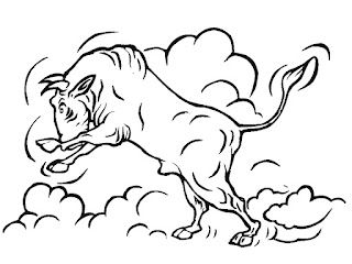 Jumping Bull Coloring Pages Realistic