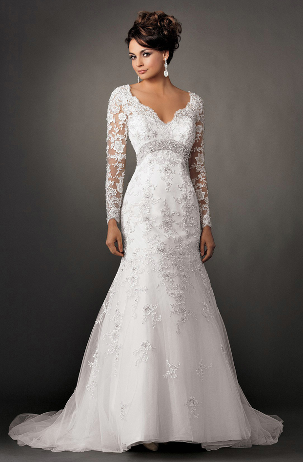 classy lace wedding dresses with long lace sleeves