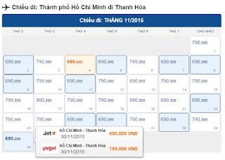 Vé máy bay Hồ Chí Minh đi Thanh Hóa tháng 11