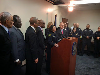 Montalvo leads a press conference to thank the Harris County District Attorney for the donation of body camera for officers.