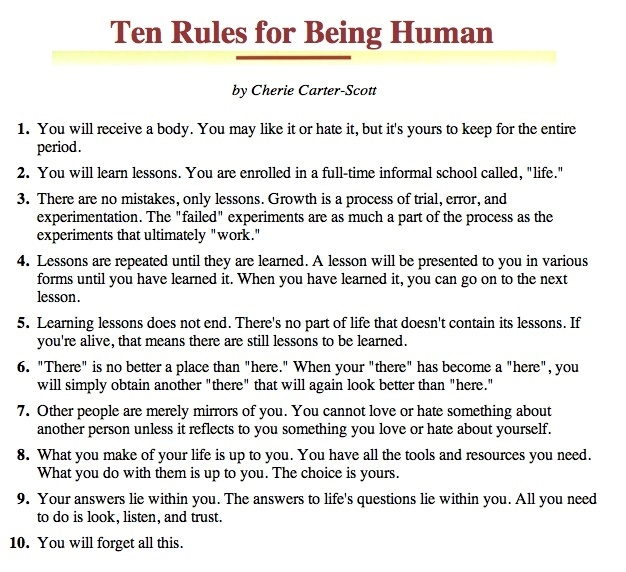 Ten Rules For Being Human